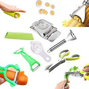 6 cuisine aide à outils - Éplucheur Rasoir Maïs Cutter - Ciseaux pour herbes à 5 lames - Eplucheurs Fruits Et Légumes - Epluche Ail en Silicone - Duplex Coupe-Oeufs - blanc d'oeuf jaune séparateur diviseur de la marque AoDi image 0 produit
