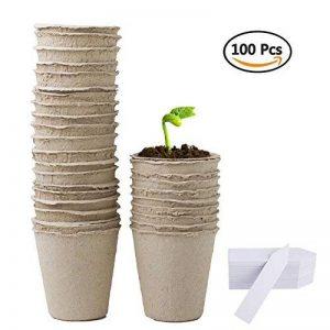 Augola biodégradable Fibre Pots de semences pour semis avec 100 pcs Plastique étiquettes pour plantes de la marque Augola image 0 produit