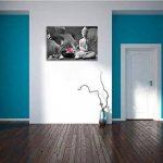 Bouddha avec nénuphar noir / blanc Taille: 100x70 sur toile, énorme XXL Photos complètement encadrée avec civière, art impression sur murale avec cadre, moins cher que la peinture ou la peinture à l'huile, aucune affiche ou un poster de la marque Pixxprin image 3 produit