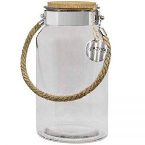 Dekovita bocal de rangement 5l h:30cm d:16cm o:10,6cm lanterne de jardin couvercle en liège bocal en verre verre décoratif lanterne vase de la marque DEKOVITA image 0 produit