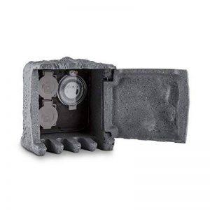 Duramaxx Timer Rock - Multiprise de jardin imitation pierre avec 2 prises, minuteur et 10m de cable (étanche, clapet aimanté avec passage à câbles) - gris foncé de la marque Duramaxx image 0 produit
