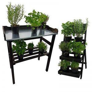 ENSEMBLE Table de rempotage 82 x 78 x 38 cm + Escalier pour pots de fleurs 66 cm en bois FSC® - Table de jardin avec surface de travail en métal galvanisé et escalier avec tableau craie - 3 couleurs à choisir, Couleur:Anthracite de la marque Power-Preise2 image 0 produit