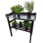 ENSEMBLE Table de rempotage 82 x 78 x 38 cm + Escalier pour pots de fleurs 66 cm en bois FSC® - Table de jardin avec surface de travail en métal galvanisé et escalier avec tableau craie - 3 couleurs à choisir, Couleur:Anthracite de la marque Power-Preise2 image 1 produit