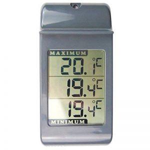 Grand thermomètre numérique gris avec maximum et minimum - Pour intérieur, extérieur, mur de serre, jardin de la marque Thermometer World image 0 produit