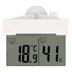 Horloge numérique Thermomètre Hydromètre LCD Auto-Adhésif avec Ventouse Horloge Fenêtre Mur Intérieur Extérieur Jardin Salle de bains Serre de la marque Fdit image 0 produit
