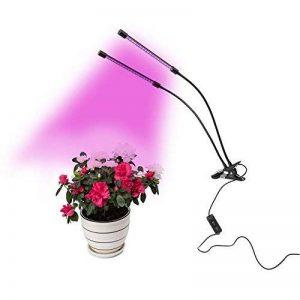Hyindoor LED Plante lampe Double tête 18W Lampe d'intérieur pour favoriser la croissance des plantes Réglable en hauteur lampe de table avec 360 ° souples et deux commutateurs de commande séparée pour l'intérieur hydroponie Serre plantes et fleurs de la m image 0 produit