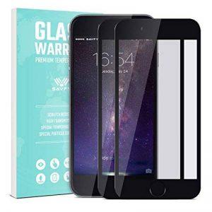 iPhone 6S / 6 Verre Trempé Film Protection écran - SAVFY 2-Pack Compatible fonction 3D Touch Glass Screen Protector Vitre Tempered Pleine Couverture Inrayable 9H et Ultra Résistant Indice Dureté pour iPhone 6S / 6 (4.7 pouces) - Noir de la marque SAVFY image 0 produit
