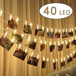 King Age LED Photo Clips Lumière Chaînes–40photo Clips 5m Batterie fonctionnant Éclairage d'ambiance décoration pour photo suspendu Memos oeuvres d'art de la marque cdsnxore® image 0 produit