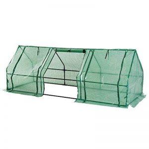 Mini serre de jardin serre à tomates 270L x 90l x 90H cm acier PE haute densité 140 g/m² anti-UV 3 fenêtres avec zip enroulables vert 69 de la marque Homcom image 0 produit