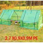 Mini serre de jardin serre à tomates 270L x 90l x 90H cm acier PE haute densité 140 g/m² anti-UV 3 fenêtres avec zip enroulables vert 69 de la marque Homcom image 3 produit