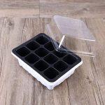 OUNONA Plateau de semis Sprout Plate 12 Cavity Pépinière Pots Plateau Couvercles Boîte pour Jardinage Bonsaï 18x14x6CM (Blanc) de la marque OUNONA image 2 produit