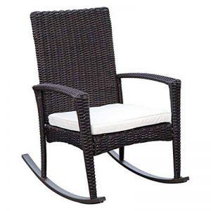 Outsunny Fauteuil à Bascule Rocking Chair avec Coussin d'assise Déhoussable 66L x 88l x 98H cm Résine Tressée Imitation rotin Chocolat 20 de la marque Outsunny image 0 produit