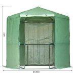 Outsunny Serre de jardin hexagonale 1,94(diam.) x 2.2H m 5 tablettes acier PE haute densité 140 g/m² anti-UV avec porte déroulante vert 34 de la marque Outsunny image 4 produit
