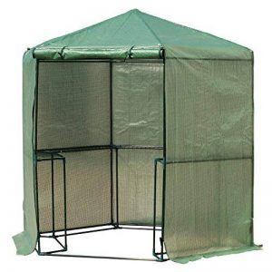 Outsunny Serre de jardin hexagonale 1,94(diam.) x 2.2H m 5 tablettes acier PE haute densité 140 g/m² anti-UV avec porte déroulante vert 34 de la marque Outsunny image 0 produit