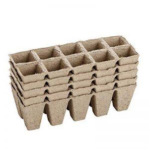 Petit carré biodégradable Fibre plateaux à semis Pots pour semis, Lot de 5-50 cellules de la marque KINGLAKE image 0 produit