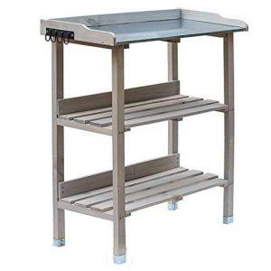 RM Design Table de plantation en bois avec plateau en métal et 2 étagères, résistante, pour jardin, balcon, terrasse, 76x38x91cm 76 x 38 x 91 cm gris de la marque RM Design image 0 produit