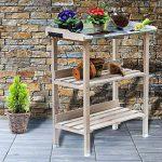 RM Design Table de plantation en bois avec plateau en métal et 2 étagères, résistante, pour jardin, balcon, terrasse, 76x38x91cm 76 x 38 x 91 cm gris de la marque RM Design image 1 produit