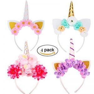 RUNFON 4PCS Serre-tête licorne avec Fleurs Halloween Chapeau Déguisement Bandeau Feutre Corne Oreilles Mignon Licorne Unicorn pour Cosplay Costume (quatre couleur) de la marque RUNFON image 0 produit