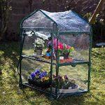 Serre de jardin, balcon, terrasse – Structure acier vert housse PVC transparente imperméable – Mini serre transportable 2 étagères L69*P49*H95 cm – Interouge de la marque INTEROUGE image 3 produit