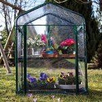 Serre de jardin, balcon, terrasse – Structure acier vert housse PVC transparente imperméable – Mini serre transportable 2 étagères L69*P49*H95 cm – Interouge de la marque INTEROUGE image 1 produit