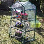 Serre de jardin, balcon, terrasse – Structure acier vert housse PVC transparente imperméable – Mini serre transportable 3 étagères L69*P49*H125 cm – Interouge de la marque INTEROUGE image 1 produit