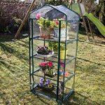 Serre de jardin, balcon, terrasse – Structure acier vert housse PVC transparente imperméable – Mini serre transportable 4 étagères L69*P49*H158 cm – Interouge de la marque INTEROUGE image 2 produit