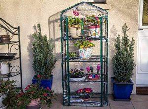 Serre de jardin, balcon, terrasse – Structure acier vert housse PVC transparente imperméable – Mini serre transportable 4 étagères L69*P49*H158 cm – Interouge de la marque INTEROUGE image 0 produit