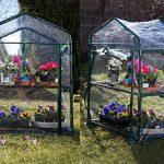 Serre de jardin, balcon, terrasse – Structure acier vert housse PVC transparente imperméable – Mini serre transportable 2 étagères L69*P49*H95 cm – Interouge de la marque INTEROUGE image 2 produit