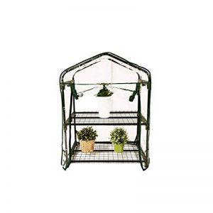 Serre de jardin, balcon, terrasse – Structure acier vert housse PVC transparente imperméable – Mini serre transportable 2 étagères L69*P49*H95 cm – Interouge de la marque INTEROUGE image 0 produit