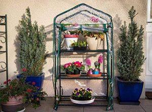 Serre de jardin, balcon, terrasse – Structure acier vert housse PVC transparente imperméable – Mini serre transportable 3 étagères L69*P49*H125 cm – Interouge de la marque INTEROUGE image 0 produit
