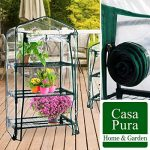 Serre de jardin casa pura Casabella avec roulettes | 3 tailles au choix | serre mobile - grande flexibilité | stabilisé UV, résistant aux intempéries | 3 tablettes (68x49x130cm) de la marque casa pura image 4 produit