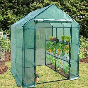 Serre de jardin casa pura   pour tomates et autres plantes   12 ou 18 tablettes, corde et piquets inclus   résistant aux intempéries, stabilisé UV   Biotopia - 12 tablettes (143x143x195cm) de la marque casa pura image 0 produit