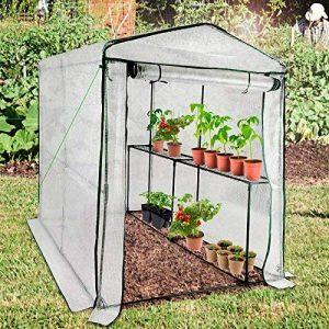 Serre de jardin casa pura Thalia transparente   avec 2 tablettes + piquets et corde inclus   pour tomates et autres plantes   résistant aux intempéries, stabilisé UV de la marque casa pura image 0 produit