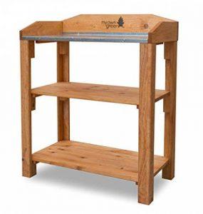 Table de jardinage en bois massif non traités prémonté avec 2plateaux et plan de travail galvanisé de la marque myowngreen image 0 produit
