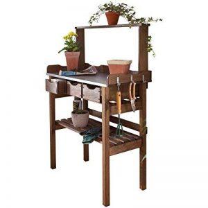Table de plantation table de rempotage en bois et métal galvanisé 3 tiroirs et 3 crochets marron 78 x 38 x 112 cm de la marque PureDay image 0 produit