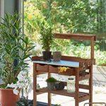 Table de plantation table de rempotage en bois et métal galvanisé 3 tiroirs et 3 crochets marron 78 x 38 x 112 cm de la marque PureDay image 3 produit