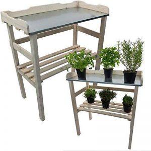 Table de rempotage / jardinage 82 x 78 x 38 cm en blanc - Table de jardin pour pots de fleurs en bois FSC® impregné et surface de travail en métal galvanisé de la marque PROHEIM image 0 produit