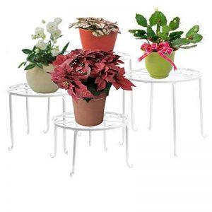 Étagère de Pots de Fleurs Plantes Jardinière Tabouret en Métal Fer Forge Blanc 4Pcs-Dazone® de la marque Dazone image 0 produit