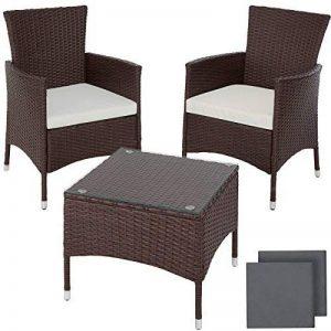TecTake Résine tressée set de jardin | 2 chaises et petite table à plateau en verre | Châssis robuste en acier - diverses couleurs au choix - (Mixed-marron | No. 402863) de la marque TecTake image 0 produit