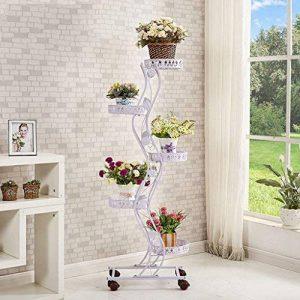 Tie - Style Wheel Flower Stand Floor - Style Flower Frame de lit Salon Balcon Shelf 5 couches (47 * 143cm) ( Couleur : Blanc ) de la marque LITINGMEI Flower racks image 0 produit