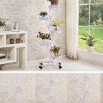 Tie - Style Wheel Flower Stand Floor - Style Flower Frame de lit Salon Balcon Shelf 5 couches (47 * 143cm) ( Couleur : Blanc ) de la marque LITINGMEI Flower racks image 2 produit