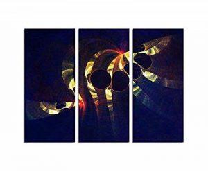 Tunnel blicke–abstrakt354_ 3x 90x 40cm Image sur toile divisée Bleu Jaune Rouge Motif abstrait tryptichon Reproduction sur châssis de la marque Paul Sinus Art image 0 produit