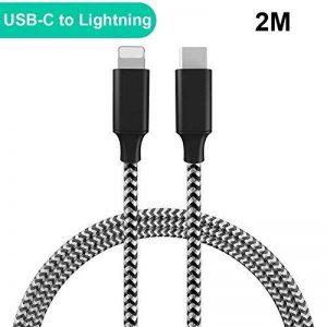 USB Type C to Lightning Câble,QGappy (Nylon/2M) Power Delivery(PD) Durable USB 3.0 Type C à Synchroniser les données Câble Cordon de charge rapide pour iPhone X/8/8 Plus(Ne supporte pas IOS 11.3) de la marque QGhappy image 0 produit