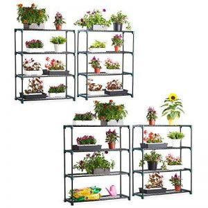VonHaus Lot de 4 Étagères de Jardin/ Serre - 4 niveaux ultra résistantes - 90 x 30.5 x 107.5 cm par étagère - Garantie 2 ans de la marque VonHaus image 0 produit