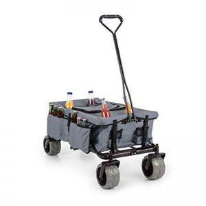 Waldbeck Greyjoy - Chariot pliable avec roues larges de 10cm, transporte jusqu'à 68kg : parfait pour le bricolage plage pique-niques (couverture pratique, porte gobelet, sac isotherme) - gris de la marque Waldbeck image 0 produit