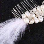 Weddwith Accessoires de coiffure Coiffure accessoires Europe et États-Unis fait à la main perle de culture d'eau douce peigne mariée de style plume accessoires pour cheveux de la marque Weddwith image 3 produit